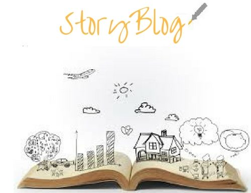 "alt=""open book with house, trees, plane, people illustrations and StoryBlog logo"""