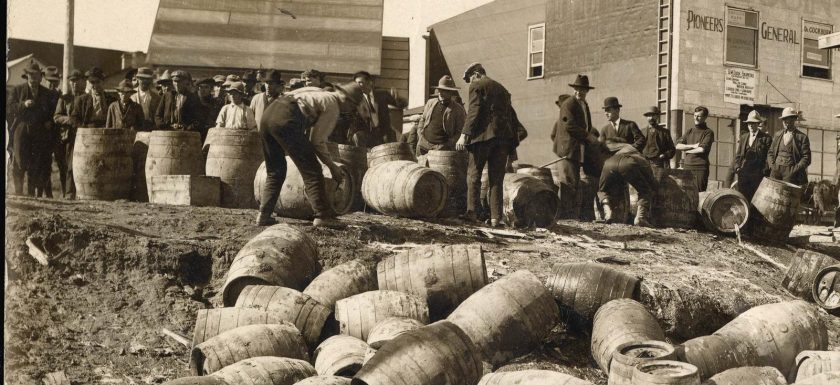 "alt=""black and white image of barrels during US prohibition"""